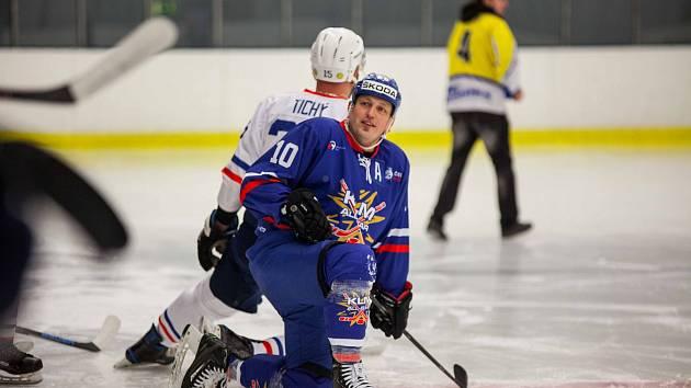 Martin Piecha na utkání hvězd krajské ligy hokejistů.
