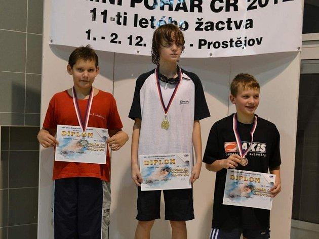 Nadějný plavec bruntálského klubu Roman Procházka (vlevo) si na Poháru ČR jedenáctiletých vybojoval dvě druhá místa.