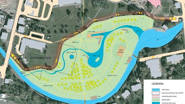 Vizualizace jak bude vypadat park s odsazenými hrázemi.