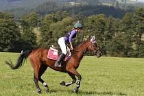 Mistryně republiky v jezdecké všestrannosti dětí na pony Viktorie Theimerová a její vítězný parťák, osmiletá Tublatanka.