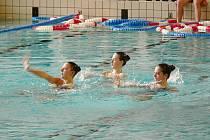 Akvabely z Tesly Brno zahájily pogram plaveckých soutěží.