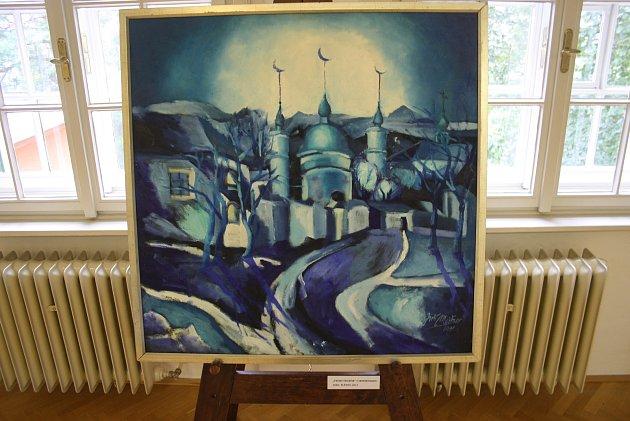 V krnovské Flemmichově vile začala výstava obrazů Jiřího Meitnera Líbáš jak kráva.