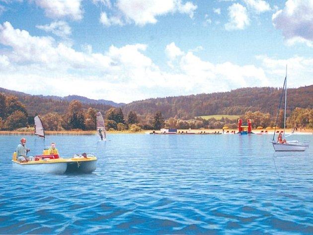 Podle vizualizace by na březích heřminovské přehrady mohly vzniknout vhodné podmínky pro turistický ruch, rekreaci a vodní sporty.