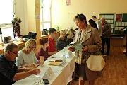 Volební místnost na Základní škole v Cihelní ulici v Bruntále.