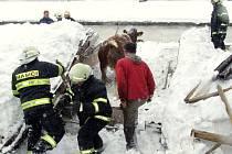 Jen sutiny zbyly z kravína v Dětřichovicích po pádu střechy kvůli sněhu. Torzo budovy zaklínilo část ustájeného dobytka.