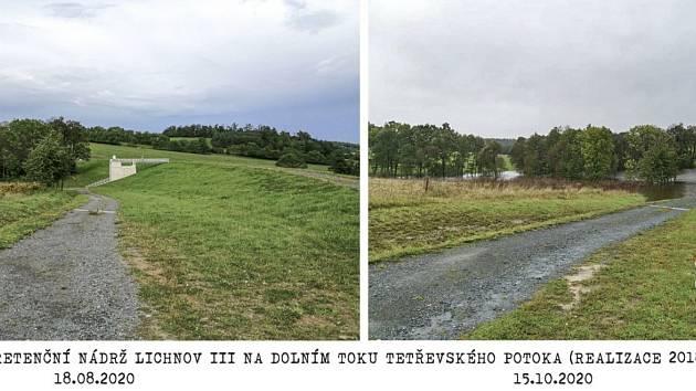 Není povodeň jako povodeň. V srpnu lichnovské poldry zůstaly suché, v říjnu se zaplnily vodou.