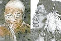Vlevo: Grafika šestnáctileté Sáry Szmekové z Gymnázia Krnov. Vpravo: PRÁCE šestnáctileté Barbory Kratochvílové z Gymnázia Krnov.