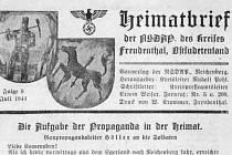 Hlavička dopisu, který dostávali někdejší bruntálští občané. Pro cílenější propagandu a větší zapojení do válečné vřavy druhé světové války posílal vedoucí bruntálské NSDAP Poledniczek osobní dopisy.