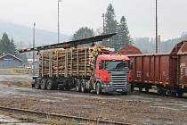 Pradědský lesní závod má ve Vrbně pod Pradědem (na snímku) i v Karlovicích svůj provoz hned vedle železniční trati. Omezením ekologicky šetrné dopravy po železnici by firmě vzrostly výrobní náklady.