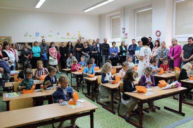 První školní den v první třídě v Městě Albrechticích.