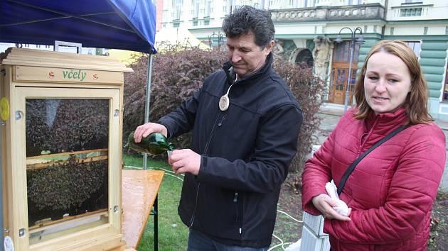 Krnovští včelaři se veřejnosti představili medem, medovinou, živými včelami i ručně malovaným svatým Ambrožem.