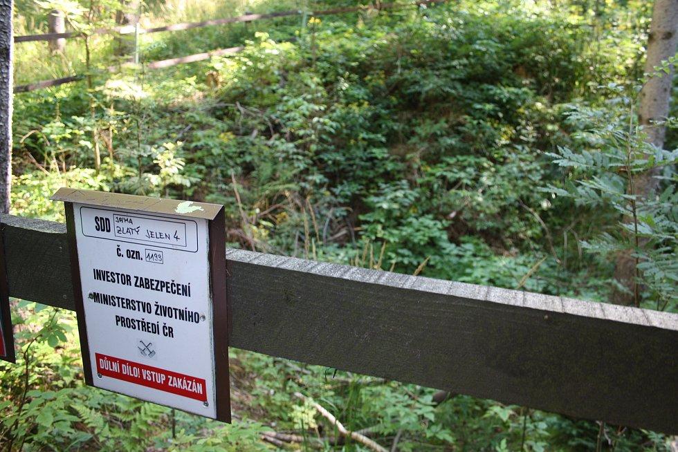 OHRAZENÍ starých důlních děl není potřebné ani tak z bezpečnostních důvodů, ale spíš aby traktory a harvestory při těžbě dřeva  nezničily archeologicky cenou lokalitu.