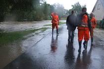 Vylitá řeka v Opavici.