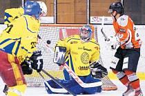 Krnovský gólman Antonín Mužík výborně zastoupil distancovanou jedničku Romana Šlupinu a svůj tým v obou utkáních podržel.