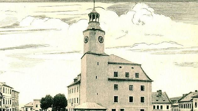 Rýmařovská radnice kolem roku 1930.