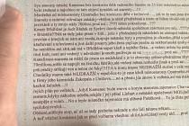 Pamflet, který ještě v den voleb vylepil neznámý člověk na bytové domy ve dvou částech města Břidličná, špiní vedení radnice i jejich rodiny.