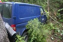 Smyk hodil autem do protisměru, kde narazilo do železného zábradlí, a následně se ještě přes střechu převrátilo ze srázu. Tam se Volkswagen zastavil nárazem do stromu.