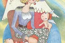 Anděl Růženy Urbanové, jeden z deseti, který je v jejích omalovánkách pro děti. Růžena Urbanová nyní hledá někoho, kdo by jí omalovánky pomohl vydat.