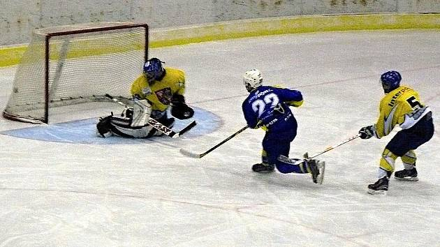 KRNOVSKÝ ÚTOČNÍK Ondřej Miškov vstřelil šestou branku Krnova v zápase se Studénkou.