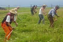 Do soutěže v kosení trávy se může přihlásit každý, kdo má dost kuráže zvládnout v co nejlepším čase vylosovaný úsek vzrostlé trávy.