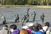 Výlov krnovského rybníka Výtažník byl pro veřejnost dobrý tip, jak naložit s volným dnem na státní svátek 28. října. Jeho břehy se zaplnily stovkami návštěvníků.