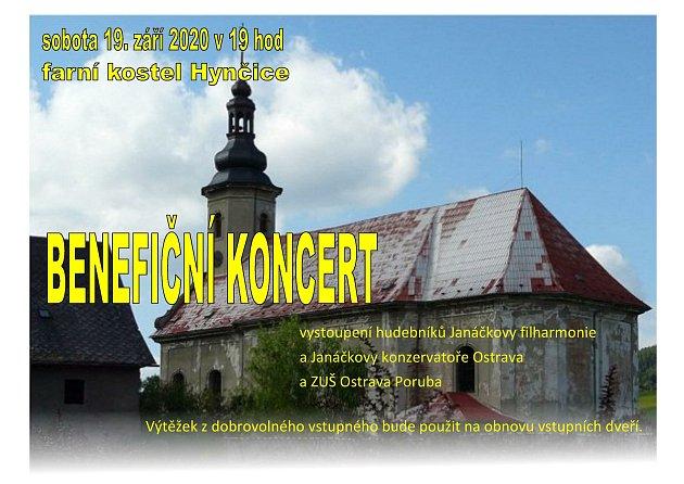 Benefiční koncert vsobotu vHynčicích.