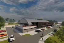 Vizualizace ukazuje, jak bude vypadat nový zimní stadion v Bruntálu a jeho okolí. Už má stavební povolení.