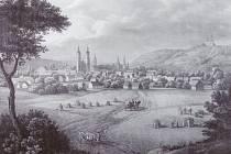 Krnov na Kunikeho litografiích poznáme podle kostela sv. Martina a poutního kostela na Cvilíně. Pořízení věrné kopie této veduty sponzorovalo město Krnov.