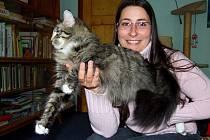 Markéta Šustrová se svou norskou kočkou Darjou.