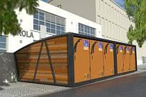 Vizualizace bikeboxů, jaké budou v prosinci dodány do Krnova.