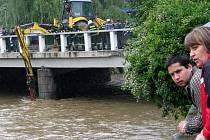 Za pomoci těžké techniky, kterou pro zvládnutí povodňové kalamity ochotně zapůjčily místní stavební firmy, hasiči odstraňovali bariéry z kmenů, které se zachytily o mostní pilíř.