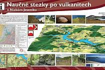Tématická mapa, se kterou se setkají turisté, kteří se vydají od pátku 11. listopadu po vulkanitech v Nízkém Jeseníku.