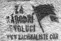 Web NACIONALISTE.COM už dávno není aktivní, ale jeho vzkazy nasprejované přes šablony jsou v krnovských ulicích k vidění dodnes. Například tento z roku 2008 najdeme na sídlišti Budovatelů.