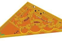 Plánovaná podoba nového saunového světa v Bruntále a jeho umístění.