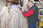 Bruntálský řezbář František Nedomlel pracuje na dřevěné plastice, která zobrazuje přírodní památku - lávový proud u Meziny.