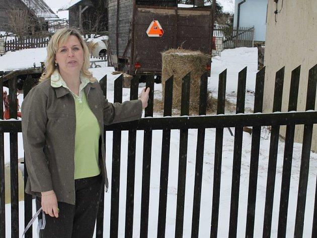 Jitka Eichlerová z Andělské Hory ukazuje, kudy přes její pozemek prchali zloději nafty od sousedů. Obyvatele města i regionu nabádá k větší opatrnosti a všímavosti.