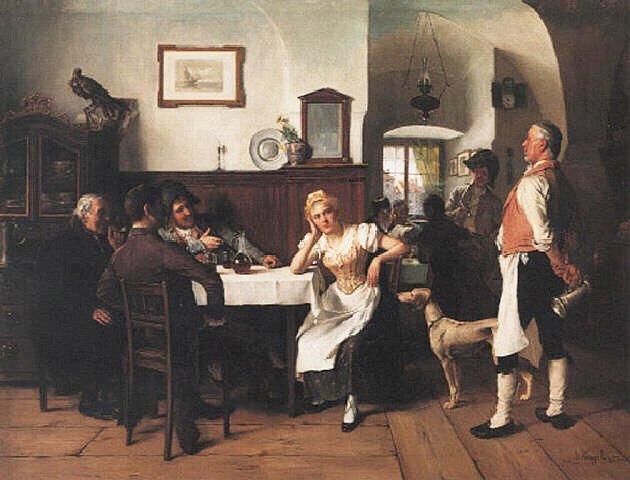 Olejomalba na plátně Josefa Kinzela z roku 1900.