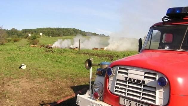 Požár sena ve Vysoké likvidovalo několik jednotek hasičů. Škoda vznikla jen minimální. Příčnou ohně byl špatný postup při skladování.