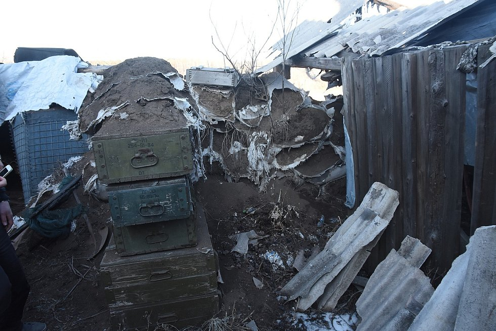 Pozorovatelská pozice ukrajinské armády v oblasti kontaktu se separatisty.