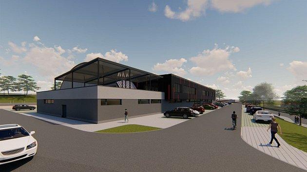 Vizualizace ukazuje, jak bude vypadat nový zimní stadion vBruntálu a jeho okolí. Už má stavební povolení.