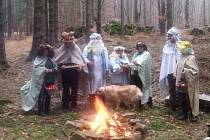 Z dvanácti Jesenických měsíčků se pod hradem Fürstenwalde představilo jen sedm, ostatní měli jinou práci na dalších místech Jeseníků.