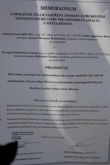 Memorandum podepsané krnovskou organizací ANO a EDC se objevilo vpředvolební kampani na plakátech.