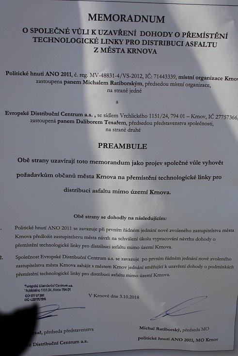 Memorandum podepsané krnovskou organizací ANO a EDC se objevilo v předvolební kampani na plakátech.