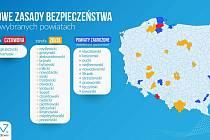 Na mapě Polska je nejhorší koronavirová situace v poviatu Hlubčice, který sousedí s Osoblažskem, Krnovskem a Opavskem. Už byl zařazen do červené zóny.