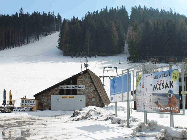 Lyžařský areál Myšák v Karlově pod Pradědem.