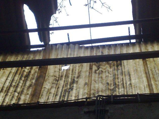 Spadlý strom poškodil halu firmy Stolplast.