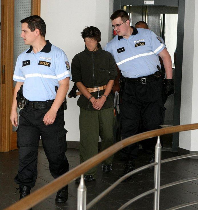 Mladík z Krnova obviněný z vraždy své jedenáctileté sestry u ostravského soudu, červenec 2011.