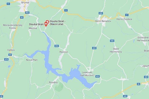 Mapa Mezina - Karlovec - Dlouhá Stráň.