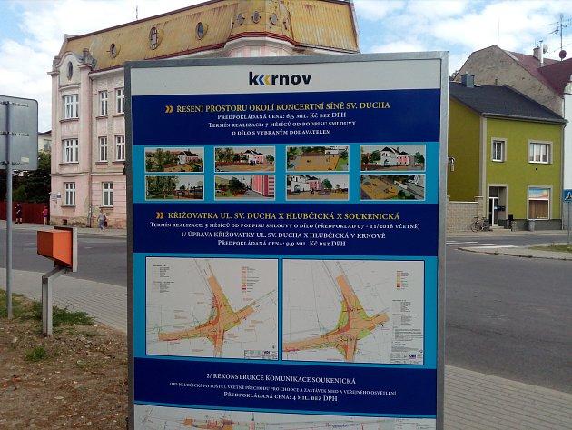 Krnovská křižovatka ulic Sv. Ducha, Hlubčické, Soukenické a Dvořákova okruhu se díky stavebním úpravám změní klepšímu.