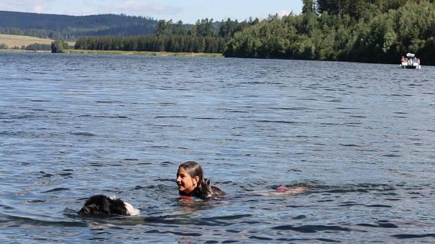 Pes při výcviku na Slezské Hartě. Z břehu doplaval k topící se ženě, v zubech přitáhl záchranný postroj, kterého se žena chytila, a pak ji dotáhl ke břehu.
